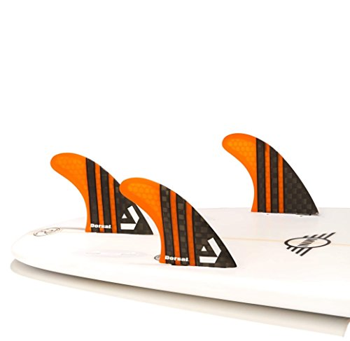 DORSAL® Carbon Hexcore Thruster Surfboard Fins (3) Honeycomb FCS Base Orange