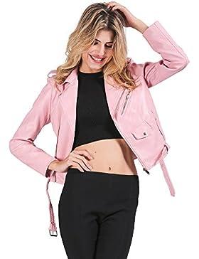 simplEE prendas de vestir las mujeres de otoño invierno Casual motocicleta Turn Down cuello solapa cremallera...