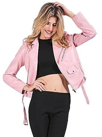 les femmes simplee vêtements automne hiver moto - ceinture taille faux col revers zip cuir courte veste imperméable extérieur de la tenue