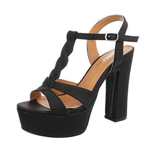 Ital-Design High Heel Sandaletten Damenschuhe Blockabsatz Heels Schnalle Sandalen &