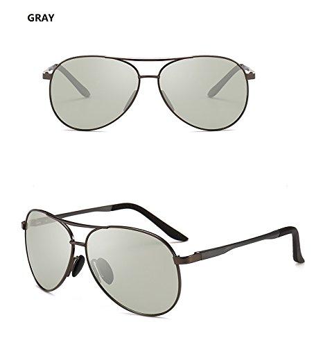Yiph-Sunglass Sonnenbrillen Mode Männer Pilot Photochromic Sonnenbrille Fahren Polarisierte Sonnenbrille Chameleon Fahrer Sicherheit Nachtsicht Brille Gläser UV400 (Color : Gray)
