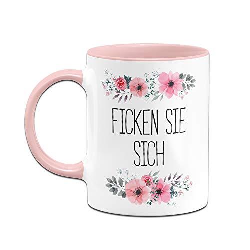 Tassenbrennerei Tasse mit Spruch Ficken Sie Sich, Fick Dich - Blumige Bürotasse, Tassen mit Sprüchen lustig (Rosa) - 2