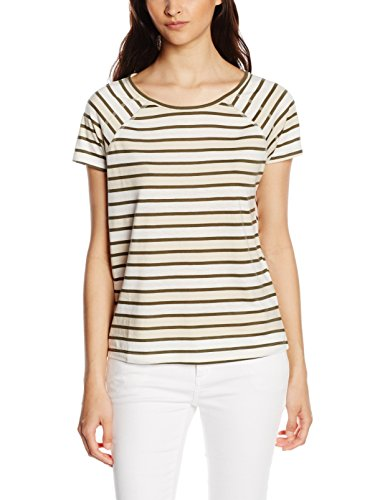 VERO MODA Damen Kurzarm Shirt Stripes Weiß (Snow White/Green and Moonbeam Mélange)