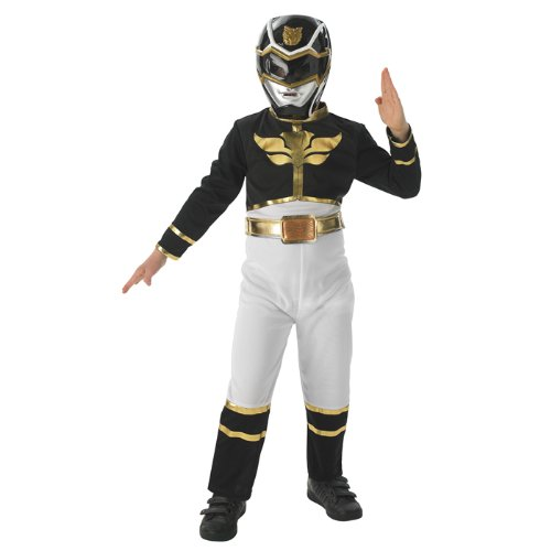 NEU Kinder-Kostüm Black Power Ranger Megaforce Gr. M (Megaforce Power Rangers Kostüm)