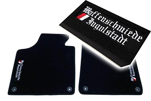 """kh Teile - Tappetini per auto in tessuto vellutato di alta qualità con ricamato il logo """"Waffenschmiede Ingolstadt', nero, 2 pezzi"""