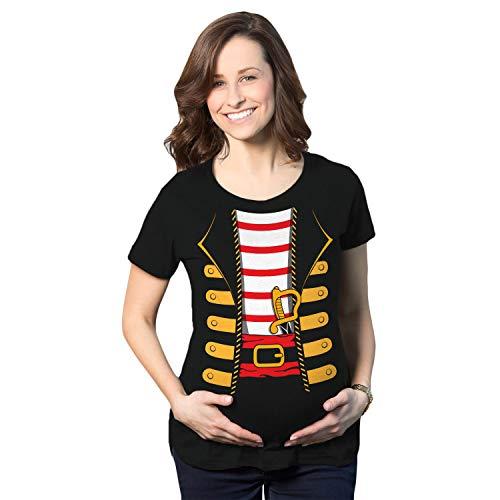 Maternity Pirate Costume Pregnancy Tshirt Funny Halloween Tee (Black) - L - Damen - L ()