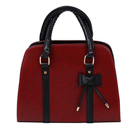 SODIAL(R) Il messaggero di modo del sacchetto di spalla del sacchetto di spalla delle borse delle donne mette in mostra borse-nero Rosso