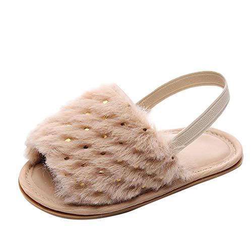 Baby Mädchen Slipper Kleinkind Kind einfarbig Flock weiche Pailletten Sandalen Freizeit Schuhe