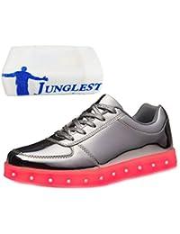 (Present:kleines Handtuch)Silber EU 46, mode Damen Herren LED Flashing Lovers JUNGLEST® Sportschuhe Unisex Luminous 43, Schuhe Turnschuhe (Größe