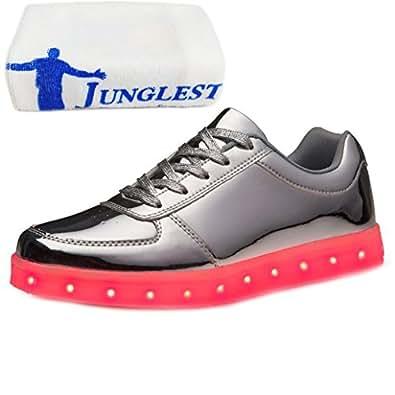 [Present:kleines Handtuch]Silber EU 34, Glow Sportschuhe Turnschuhe 43, Lovers Unisex Schuhe USB-Lade Herren (Größe Silber) Flashing JUNGLEST® Lu