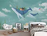 YUANLINGWEI Benutzerdefinierte Wandbild Tapete Kreative Aquarell Meer Tier Wal Muster Kinderzimmer Wand Dekoration Wandbild Tapete,50Cm (H) X 70Cm (W)