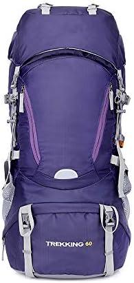 CXJC Zaino da Escursionismo 60L Nylon Sport Impermeabile per Sport Nylon all'Aperto Trekking Campeggio Viaggi Alpinismo Outdoor Cerniera con Copertura della Pioggia,viola 8875c8