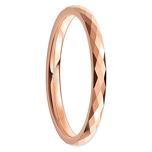 Natur Fashion - 2mm Tungsten Ring für Mädchen Damen Frauen Rosegold Verlobungsring Partnerring Charme Facetten Design Größe 48 (15,3)