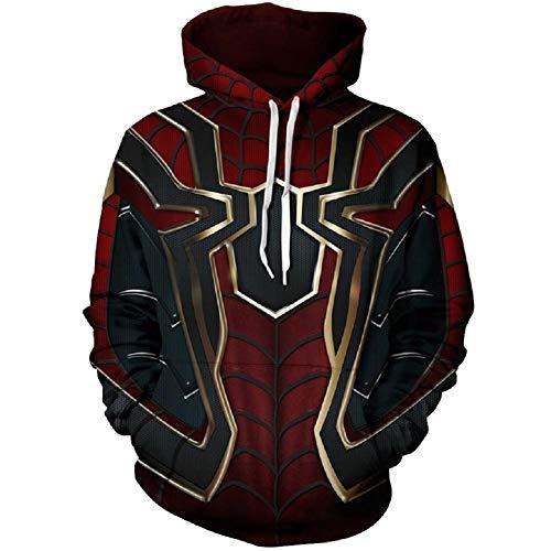 Bisika Cos Superhelden-Sweatshirt, für Halloween, Cosplay-Kostüm, Herren, Kapuzenjacke - schwarz - XXX-Large (3xl Halloween-kostüme Männer)