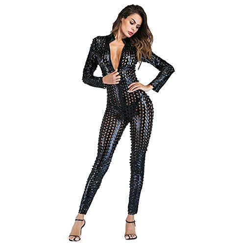 Wonder Pretty Damen Catsuit Schwarz Leder Jumpsuit Overall Catwoman Kostüme Latex Wetlook Sexy Dessous Ouvert Body Clubwear ()