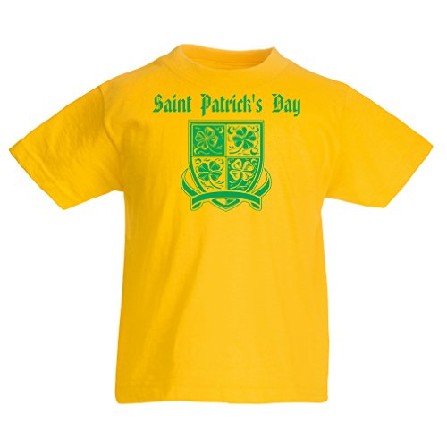 Kinder T-Shirt Saint Patrick\'s day Shamrock symbol - Irish party time (12-13 years Gelb Mehrfarben)