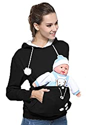 Engerla Unisex Adult Casual Hoody Big Pocket Hold Your Cat Dog Pet Hoodie Long Sleeve Pullover Jumper Sweatshirt