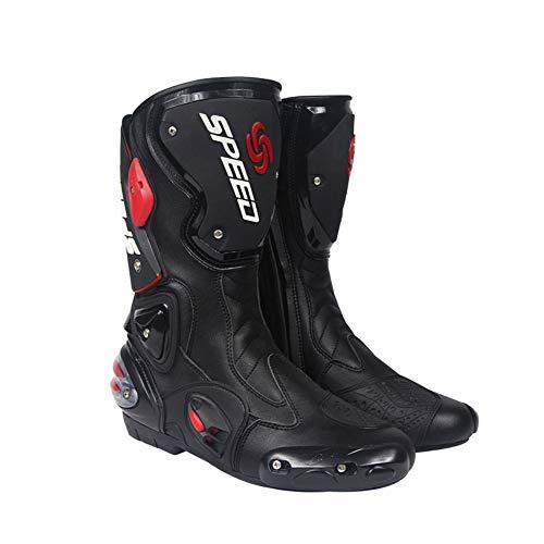 JYY Stivali da Moto Stivaletti da Cavallerizzo da Corsa su Strada da Corsa Sportiva Stivali in Pelle di Protezione per Armature da Moto,Black-EU44