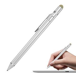 MoKo Universal Activer Stylus Stift - Aluminium 2 in 1 Hoch Präzis 1.5mm Touchstift Eingabestift mit integriertem Akku geeignet für Apple (iPhone XS/XS Max/XR/X/8, iPad), Tablets, Smarphones, Silber