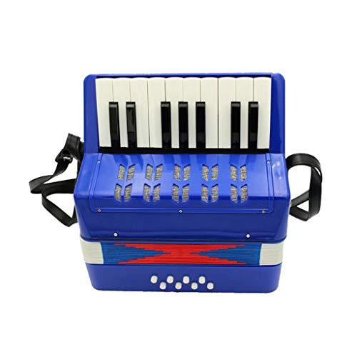 JHKJ Akkordeon 17-Tasten 8 Bass Mini Piano Akkordeons Musikpädagogisches Instrument für Kinder, Jugendliche und Anfänger,Blue1