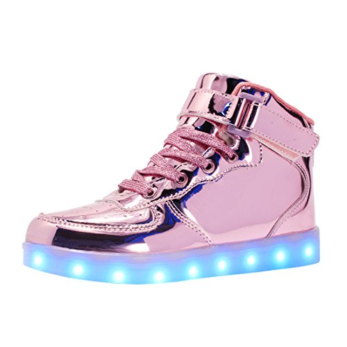 bevoker Leucht Schuhe Kinder High Top LED Turnschuhe Blinkschuhe für Mädchen Jungen Unisex (Jungen High-top)
