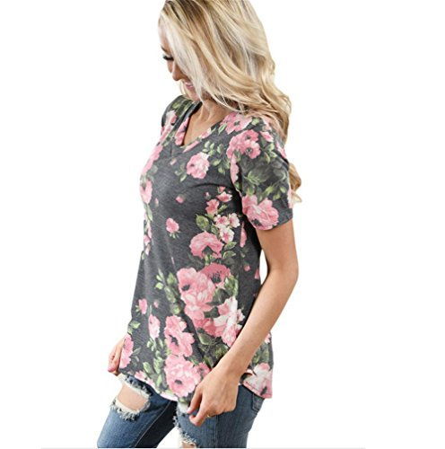 PU&PU Frauen-beiläufiges / tägliches Blumendruck-V-Ansatz T-Shirt Kurzes Hülsen-dünnes Oberseite Grey