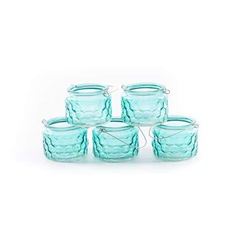 Set | knuellermarkt24.de | Henkel zum Hängen Windlichter Teelichthalter Kerzenhalter Teelichter blau hellblau ()