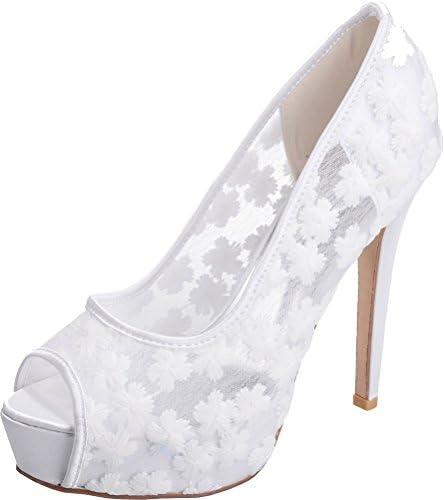 Find Nice - Plataforma de Encaje Mujer, Color Blanco, Talla 36.5