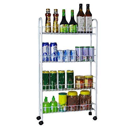 Taotao Küche Slim Slide Out Storage Tower Rack-Weiß 4 Tier Mobile Regaleinheit Organizer mit Universal-Rädern, for Enge Räume Waschküche -