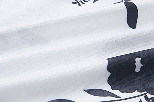 Robe Imprimé Floral Col Bateau Boheme Chic Robe Manche Evasee Ceinture Robe Epaule Denudee Grande Taille Rétro Vintage Mode Robe de Plage Soirée Cocktail Party – Landove Noir