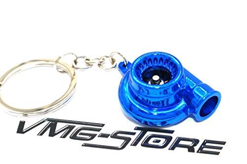 Turbo Blau Chrom Schlüsselanhänger mit drehendem Verdichterrad -von VmG-Store Turbolader Schlüssel