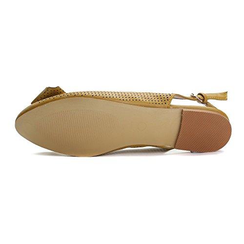 Alexis Leroy Classiques Ballerines Femme Bout Pointu Boucle Chaussures Jaune