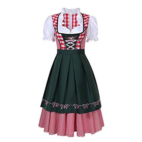 Dirndl Set 3 TLG, Bayern Frauen Dirndl Kleid Trachtenkleid mit Stickerei, Dirndl Bluse, Schürze Damen Midi Trachtenkleid für Oktoberfest -