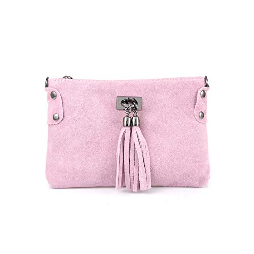 Made in Italy Damen Leder Clutch Tasche Messenger Bag Henkeltasche Wildleder Handtasche Umhängetasche Ledertasche Schultertasche Beuteltasche Fransen Cross-Over Rosa - Rosa Wildleder Fransen