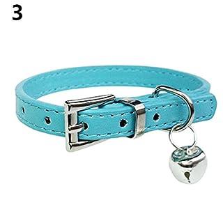 ALCYONEUS Kunstleder Mode Hundehalsband Halsband Haustier Kragen Bell-Anhänger für Katzen Welpen Hund (xs, blau / blue)