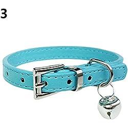 Alcyoneus Fashion hebilla de Bell colgante correa para el cuello collar de perro mascota gato del perrito de Piel Sintética