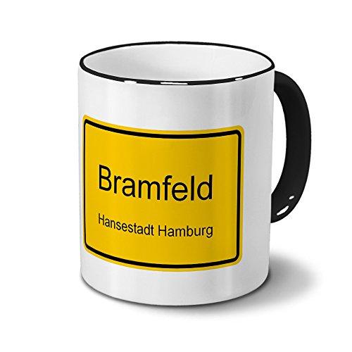Städtetasse Bramfeld - Hansestadt Hamburg - Design Ortsschild - Stadt-Tasse, City-Mug, Becher Schwarz