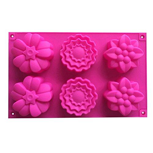 BESTOMZ Kreative 6 Hohlraum 3 verschiedene Blumenmuster hitzebeständigem Silikon Kuchen Formen Nonstick Flexible Silikon Form für handgemachte Seife / Rose Mooncake / Pralinen / Gelee / Fondant (zufällige Farbe)