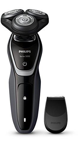 Philips S5110 - Afeitadora eléctrica, uso en seco, con recortador de precisión SmartClick y tapa protectora del cabezal, color negro