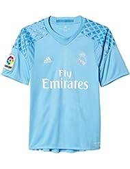 adidas H Gk Jsy Y Camiseta 1ª Equipación de Portero del Real Madrid Cf 2015/16, Niños, Azul / Blanco, 7-8 años