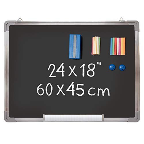 Navy Penguin Tafel-Set - Schwarze Magnetische Kreidetafel 60x45 cm mit 1 Kreideradierer, 14 Kreide-Sticks (7 Farben) und 2 Magnete - Aufhängbare Kleine Tafel für Kinder, Büro, Klassenzimmer