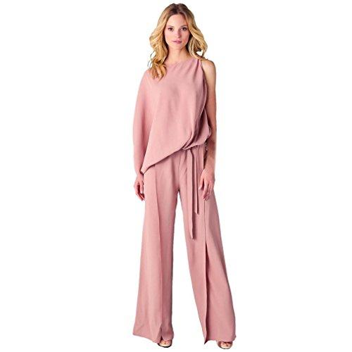 50er Lady Kostüm Jahre Damen Pink (Overdose Damen Unregelmäßig Eine Hülse Playsuit Hose Overall Wide Leg Hose Lange Jumpsuit (S,)