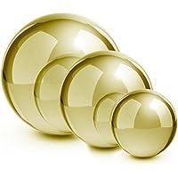Blumfeldt Golden Globe Set Da 3 pezzi Sfera da giardino decorativa in Acciaio INOX (diametro 13/20/28 cm, galleggianti, inossidabili)