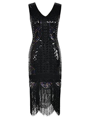 Kayamiya Damen 1920er Jahre Inspiriert Perlen Paisley Art Deco Franse Flapper Kleid XL schwarz