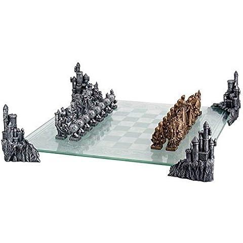 Juego de ajedrez con repisa de cristal diseño de aprox 50 x 50 cm en la edad media