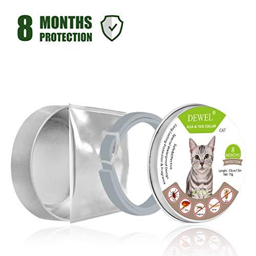 Dewel 34,5cm Collier Anti Puces Chat Collier Antiparasitaire Non-Toxique Anti-allergie Durée 8 Mois pour Chats Chiens Animaux