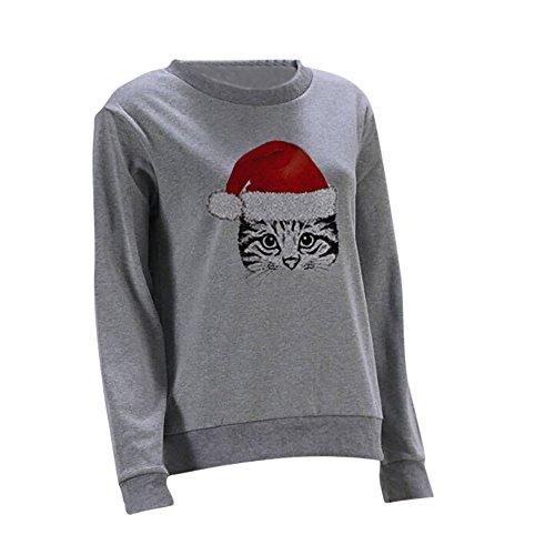 SHOBDW Plus Größe Damen Winter Mode Lässig Mode Weihnachten Stil Kitty Drucken Tops Bluse Frauen Lose Dünn Pullover Outwear T Shirts Sweatshirt Einfach und Stilvoll Exquisit Draussen Oberseiten