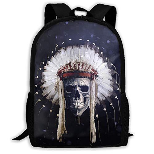 K-dark - Fascia per Capelli con Piume dei nativi Americani e Teschi, per Adulti, Zaino a Tracolla, Borsa per la Scuola, per Escursionismo, Viaggi, Scuola, Nero, Taglia Unica