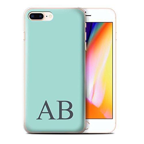 Personalisiert Pastell Monogramm Hülle für Apple iPhone 8 Plus / Blaues Design / Initiale/Name/Text Schutzhülle/Case/Etui Türkis