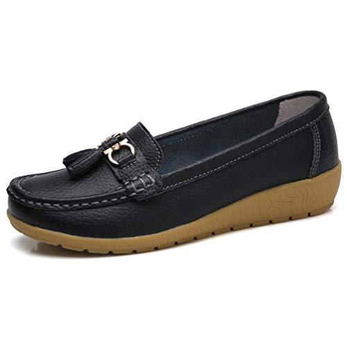 Damenschuhe Bootsschuhe Sneakers echte Lederschuhe Tassel Rand lässige Schuhe Runde Zehen Rutschfeste Loafer